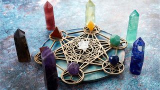 Meditation, reiki and crystal healing background