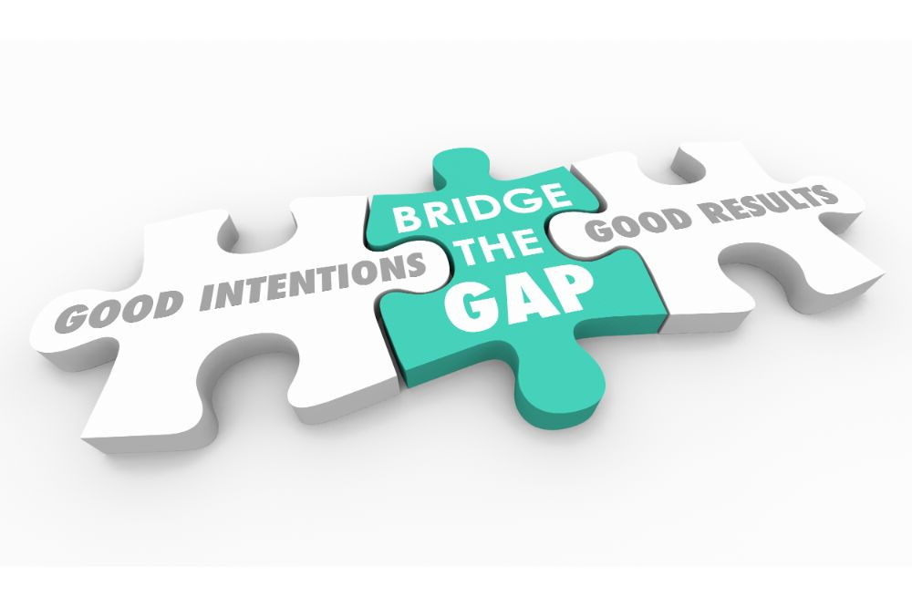 Good Intentions Vs Results Puzzle Pieces Words