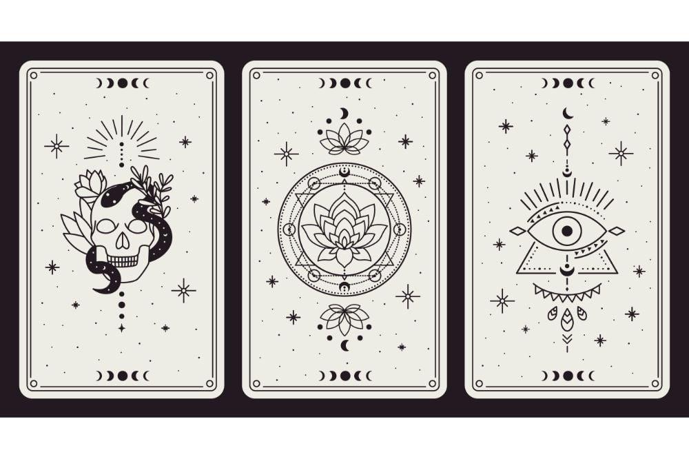 Vintage hand drawn mystic tarot cards