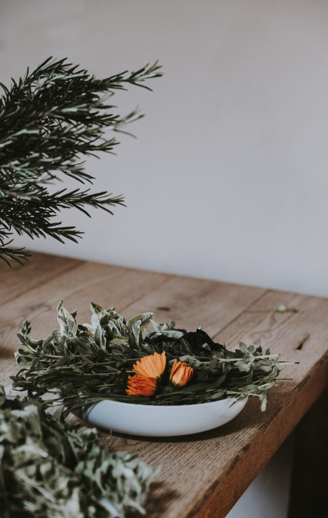 mix a floral bowl to cleanse your house without sage