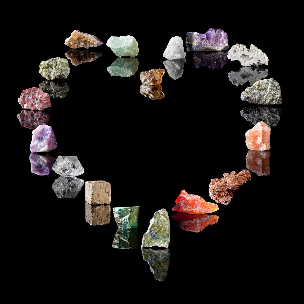 crystals in the shape of a heart